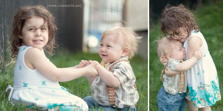 Photographie enfant de la soeur et du frère
