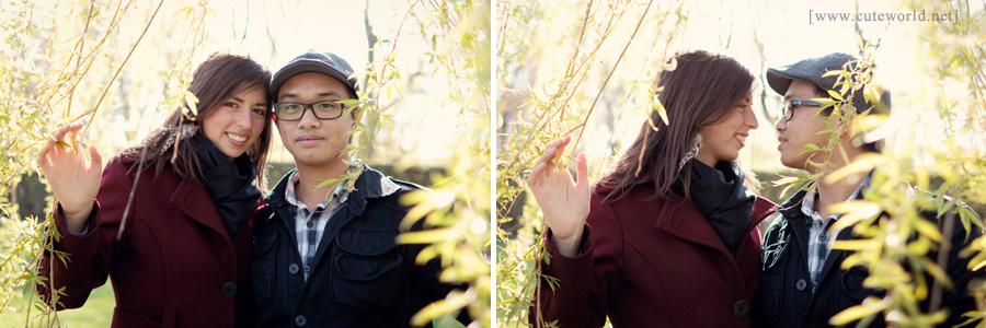 Photographie de couple amoureux sous un arbre