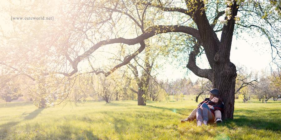 Photographie d'un beau moment sous un arbre d'un couple amoureux