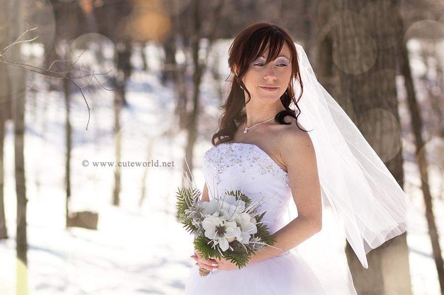 photographe mariage à montréal portrait mariée en hiver