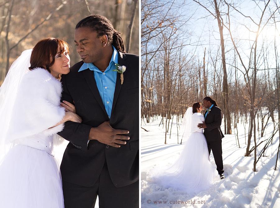 photographie mariage en hiver à montréal dans une forêt