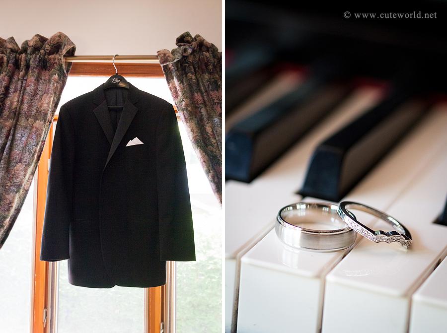 photographie mariage détail tuxedo du marié et les alliances