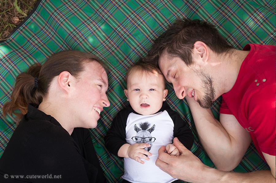 Séance photo famille aux pommes