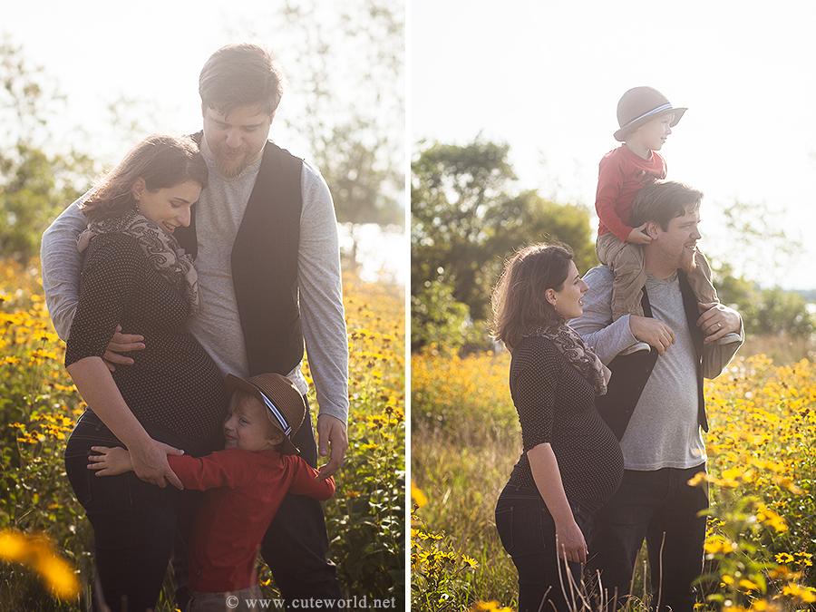 Séance maternité en famille dans les fleures